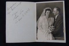 OLD WEDDING PHOTOGRAPH 1<p>From flea market. Translation: To our beloved sister Aristea and nephew. With love Tassos - Nina, Nea Smyrna 6/7/47.</p>