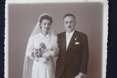 OLD WEDDING PHOTOGRAPH 6<p> From flea market. Translation: To our beloved Elenitsa. With love Uncle and aunt Georgala.</p>