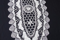SEMEDAKI (GREEK CROCHETED DOILY)<p/>Created by Garyfallia Koutsodonti (née Spala) and presented as part of her eldest daughter's trousseau in 1982. This piece was made by stitching together individual crochet pieces that were used for wrapping her own wedding favours (mpomponieres) in May 1945.