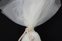 DRAGÉES (KOUFETA) <p>Small white or pink candies given to guests after the wedding ceremony, wrapped in pieces of veil. They symbolize the joys and sorrows of marriage, as well as fertility and future offspring. The number of dragées must be indivisible, signifying that the couple will share everything and remain inseparable.</p>